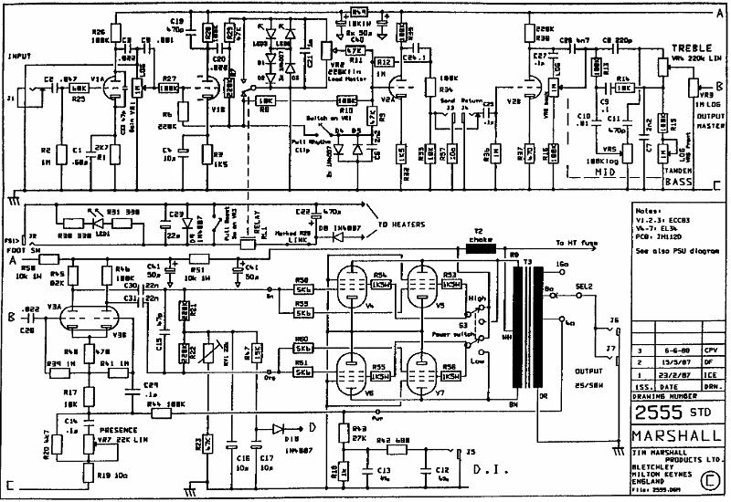 Marshall Model 2555 100w Lead Archivesrharchives: Marshall Jubilee Schematic Circuit Diagram At Gmaili.net
